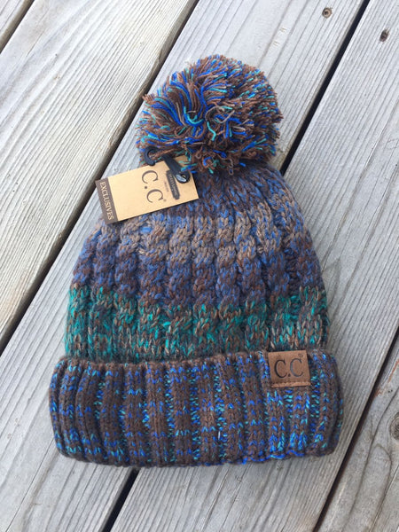 C.C. Multitone Pom Beanie (Adult/One Size)