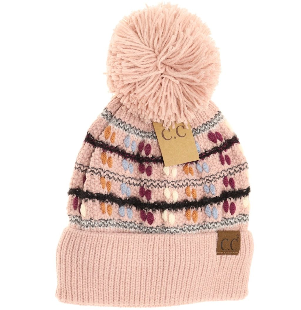 C.C Vintage Knit Yarn Pom Beanies (Adult/One Size)