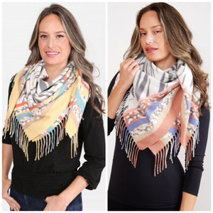 Soft Mixed Animal Print Fringe Trim Scarf
