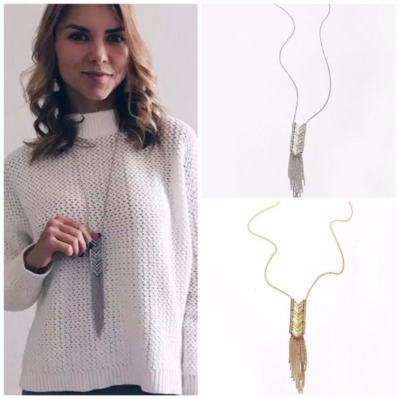 Long Fashion Chevron Arrow Tassel Necklace