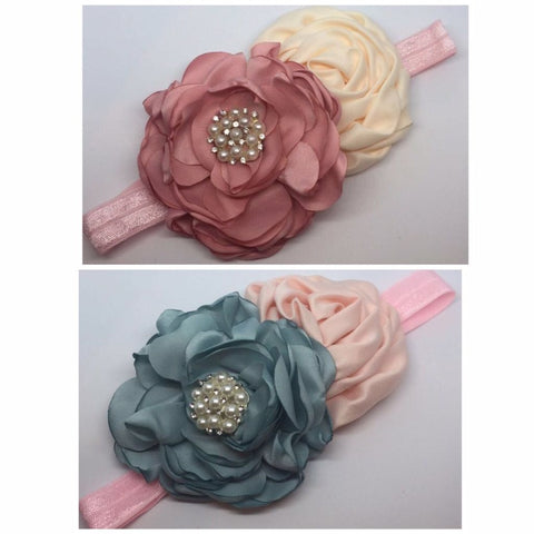 Satin and Pearl Flower Headbands