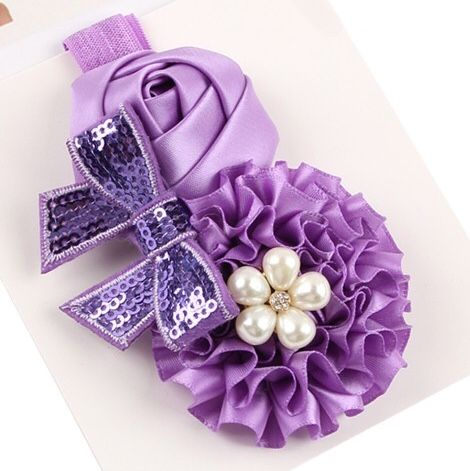 Satin Triple Cluster Flower & Bow Headbands