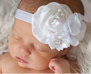 Triple Cluster Satin & Chiffon Flower Headbands