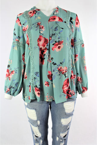 New Women's Boutique V Neck Floral Long Sleeve Crochet Detail Top PLUS sizes 1x, 2x & 3x