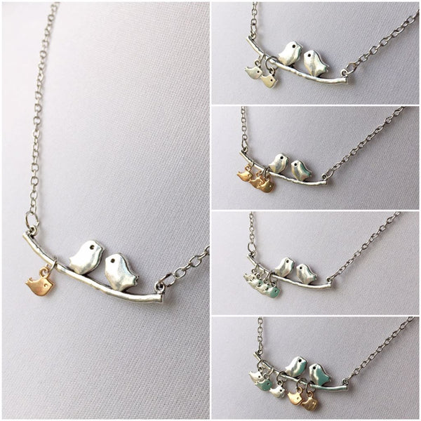 Momma Bird Necklaces With Baby Birds (from 1-5 babies)