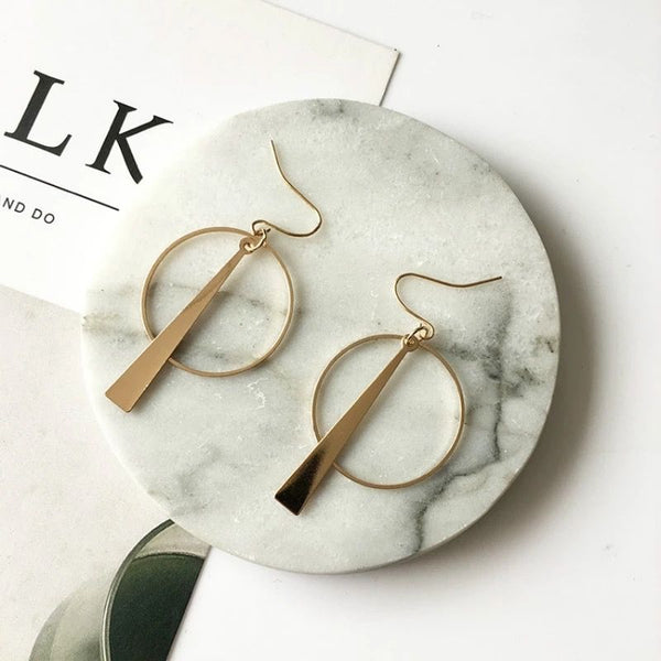 Simple Geometric Earrings. Silver & Gold