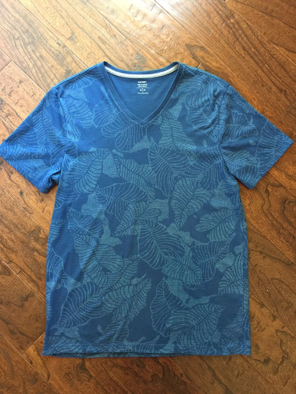 Pre-Loved Men's Teen Like New, Old Navy Palm Leaf V-Neck Top, Size M