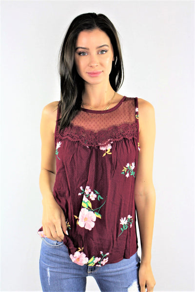 New Women's Boutique Sleeveless Floral Top with Lace Detail S & M Only