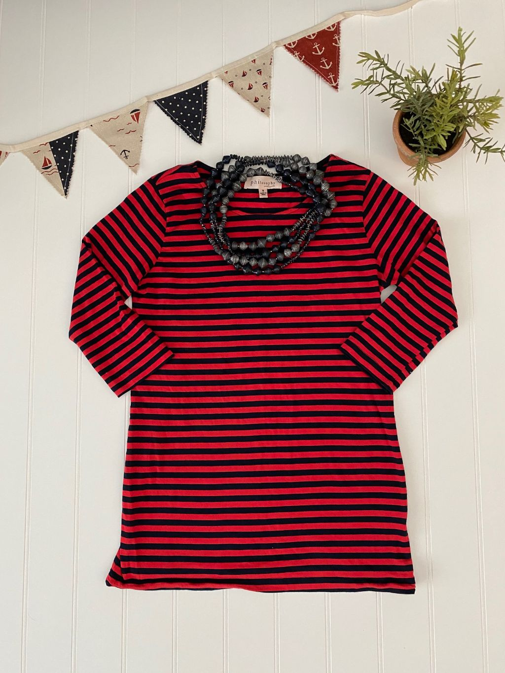 Pre-Loved Philosophy striped 3/4 sleeve top, S
