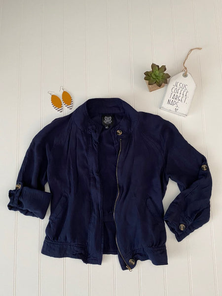 Pre-Loved Navy cropped jacket, size Small