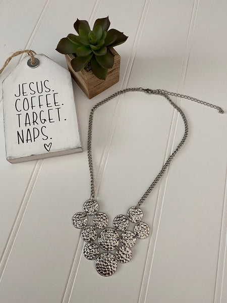 Pre-Loved Silver hammered discs statement necklace