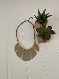 Pre-Loved Taupe enamel statement necklace