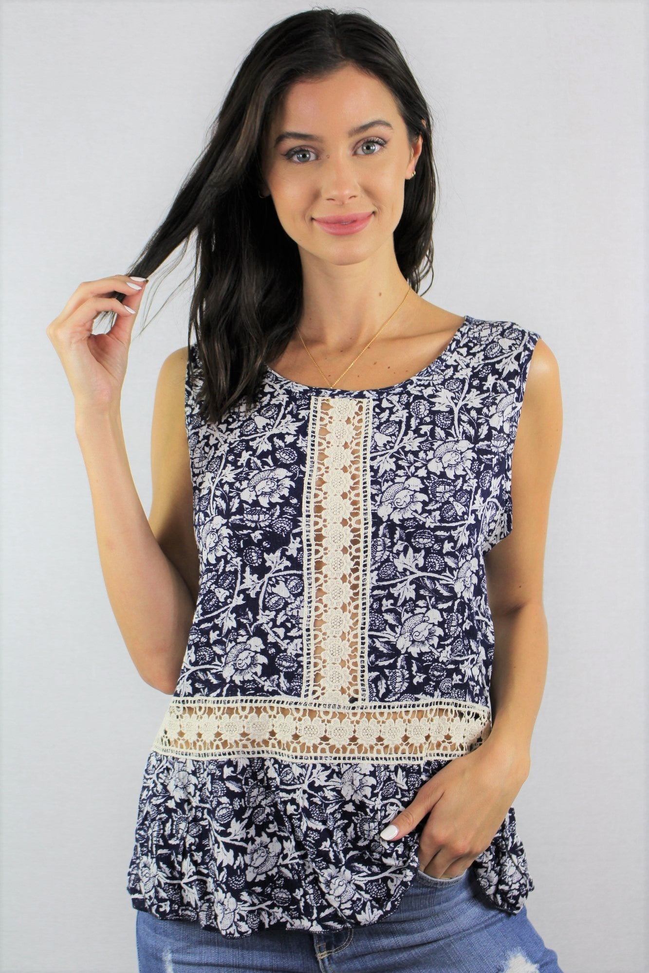 New Women's Boutique Sleeveless Top with Crochet Detail S, M, L, XL