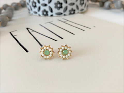 Gold, White and Green Starburst Crystal Post Earrings
