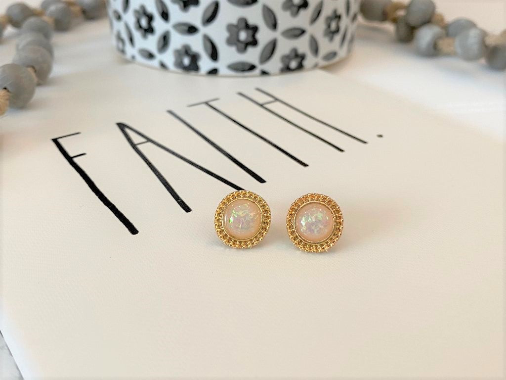 Gold Iridescent Fleck Round Post Earrings