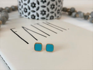 Teal & gold rounded square post earrings