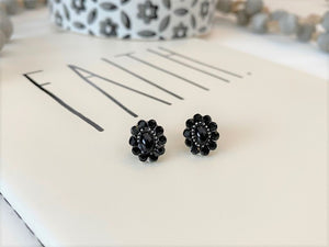 Black Silver Crystal Post Earrings