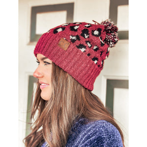 C.C. Leopard Boucle Knit Pom Beanie (Adult/One Size) Several Colors