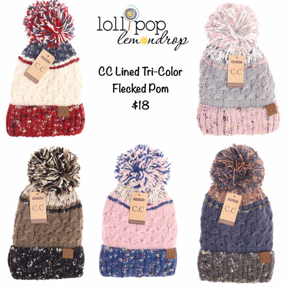 C.C. Tr-Color Lined Knit Pom Beanie *PRE-ORDER* Ends 9/11/19