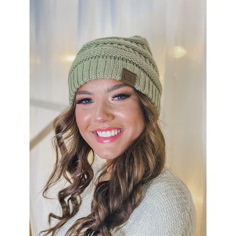 C.C Classic Solid Ribbed Beanie (Adult/One Size) Many Colors