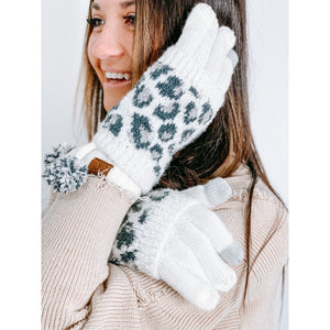 C.C. Leopard Boucle Knit Gloves (Multiple Colors)