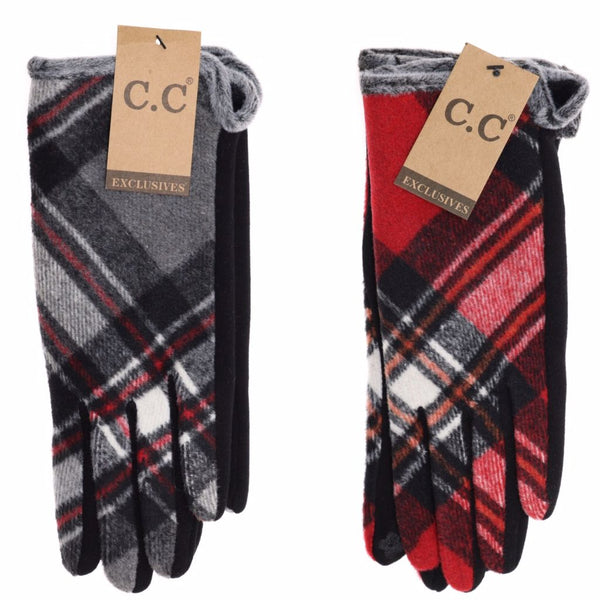 CC Plaid Gloves With Smart Tip Finger
