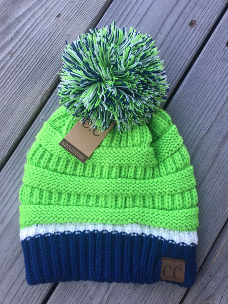 Seahawks Inspired C.C Game Day Pom Beanie (Adult/One Size)