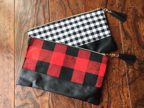 Buffalo Check Anything Zip Bags! Make-up, Clutch, Whatever you want!