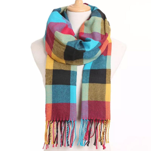 Colorful Plaid Traditional Cashmere Scarf