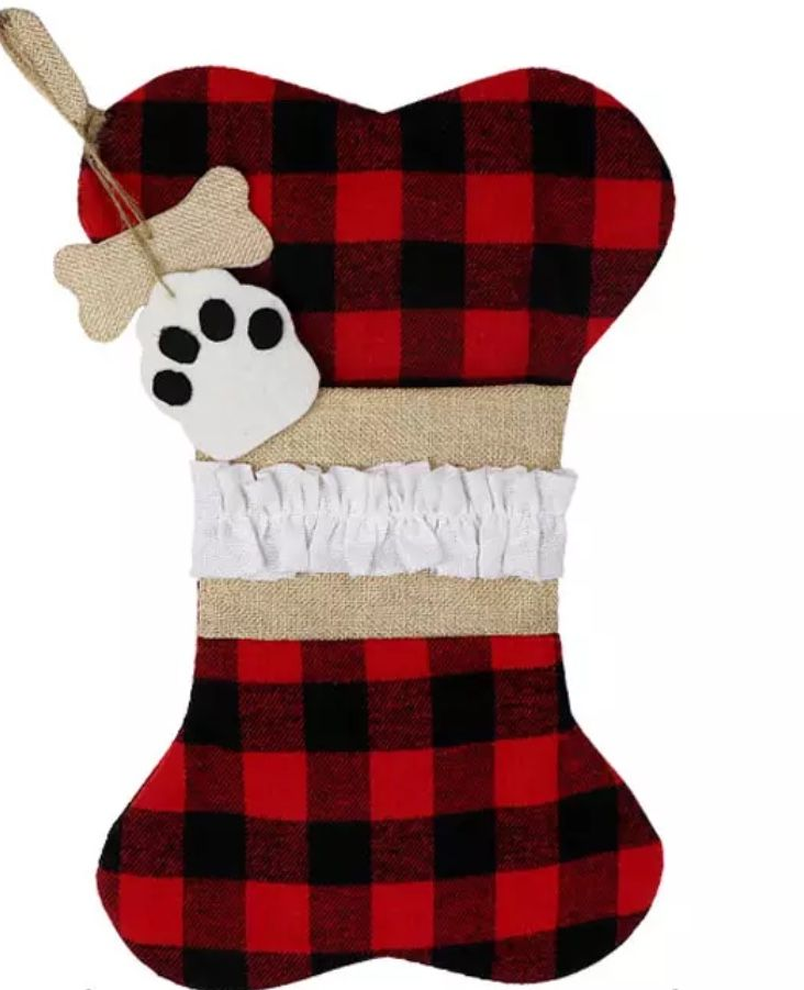 Buffalo Check Burlap Pet Stockings! *CLEARANCE*