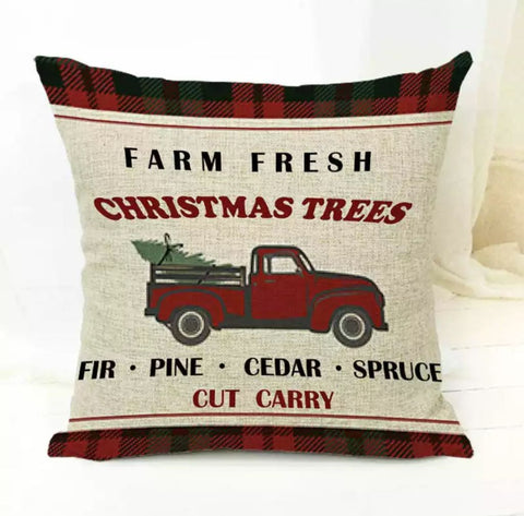 "Farm Fresh Truck Christmas Pillow Cover 18""x18"" *CLEARANCE*"