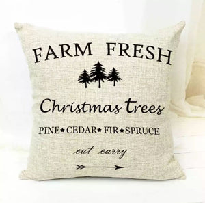 "Farm Fresh Christmas Pillow Cover 18""x18"" *CLEARANCE*"