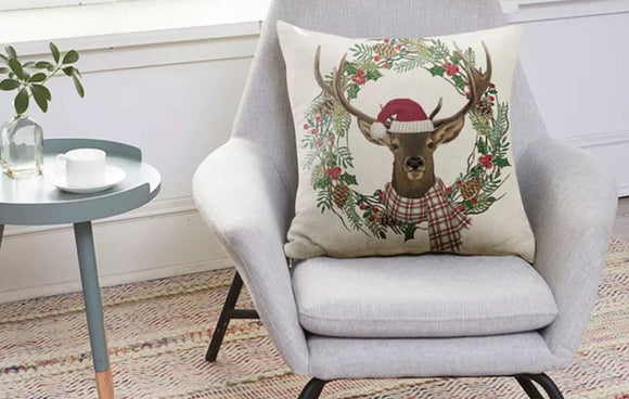 Country Deer Wreath Christmas Pillow Cover 18