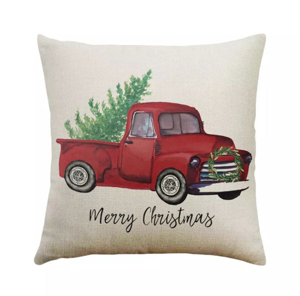 "Vintage Truck Christmas Pillow Cover 18""x18"" *CLEARANCE*"