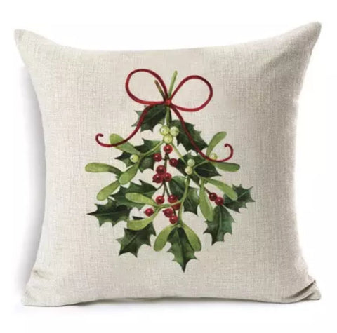 "Mistletoe Holly Christmas Pillow Cover 18""x18"" *CLEARANCE*"