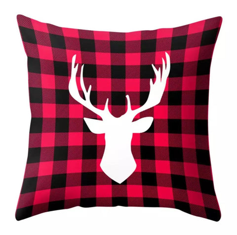 "Buffalo Plaid Deer Velvety Christmas Pillow Cover 18""x18"" *CLEARANCE*"