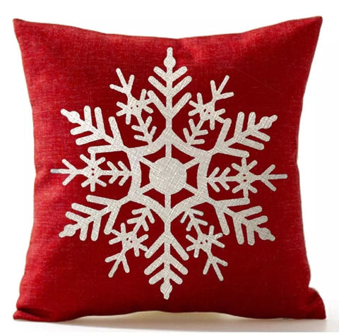 "Red Snowflake Christmas Pillow Cover 18""x18"" *CLEARANCE*"