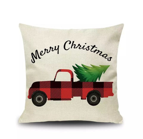 "Buffalo Check Merry Christmas Truck Pillow Cover 18""x18"" *CLEARANCE*"
