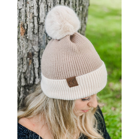 CC Solid Color block Faux Fur Pom Beanie Several Colors