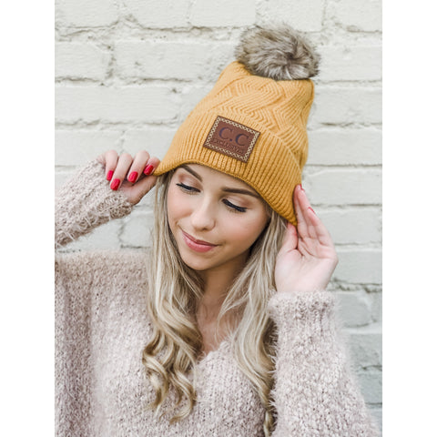 CC Large Patch Geometric Knit Lined Pom Beanie (several colors)