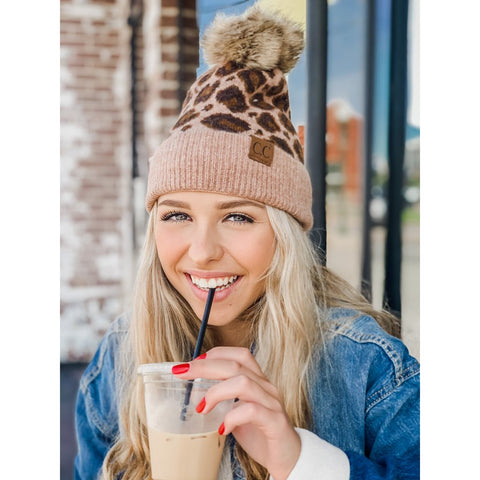 CC Leopard Print Wool Blend Faux Fur Pom Beanie 4 Colors