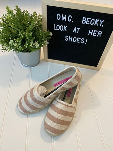 Pre-Loved NEW Rock & Candy by ZiGi, Tan & Cream Striped Shoes, Size 6