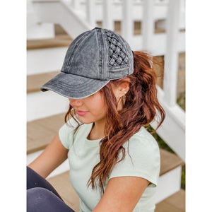 C.C .Basket Weave Criss-Cross High Ponytail Ball Cap (Adult/One Size) Multiple Colors!