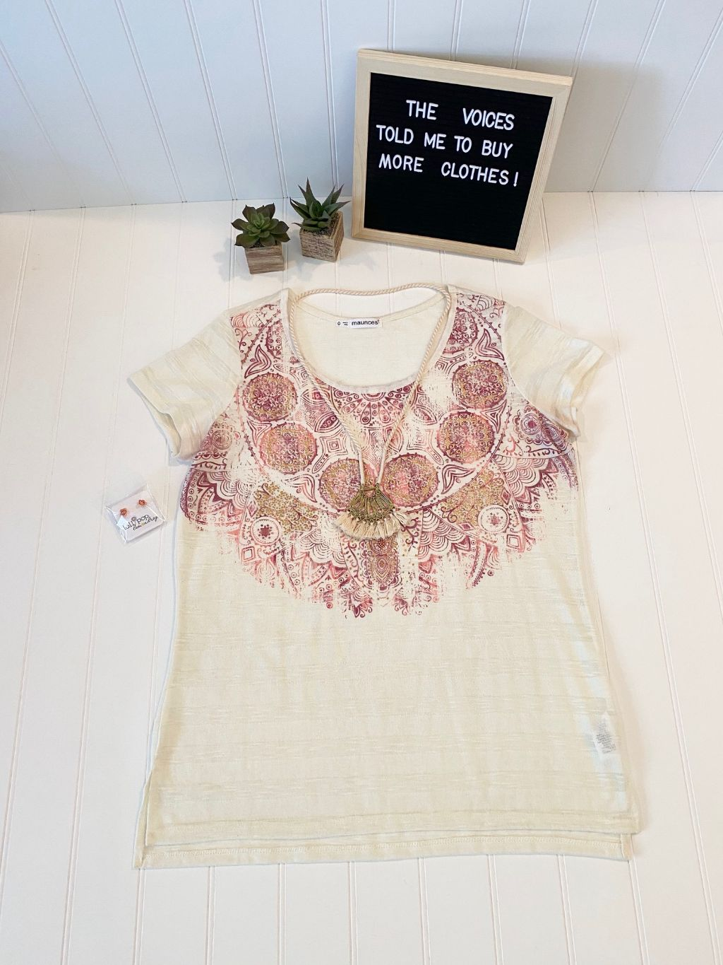 Pre-Loved Women's Like New, Maurices Print Top, size Plus 0