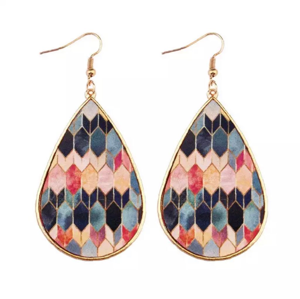 Colorful Print Gold Tear Drop Earrings