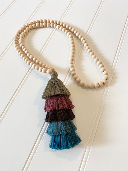 Boho Natural Wood Beaded & Tassel Necklaces