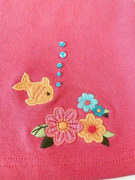 Pre-Loved Girls Like New Gymboree Flutter Sleeve Fish Top, size 6