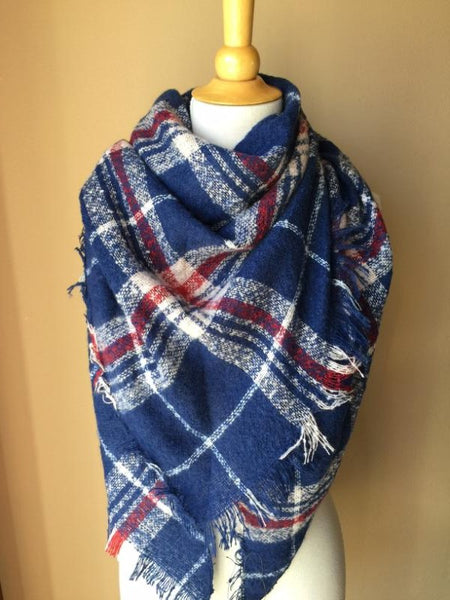Textured Plaid Blanket Scarf