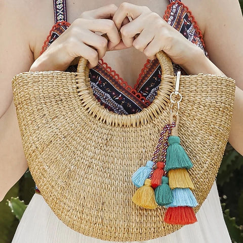 Boho Tiered Tassel Key Chain Purse Bag Clip