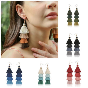 Boho Tiered Tassel Earrings Several Colors